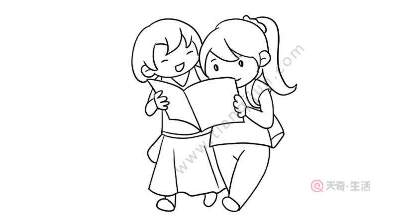 看书的女孩简笔画