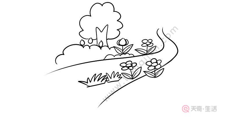 开满鲜花的小路简笔画步骤